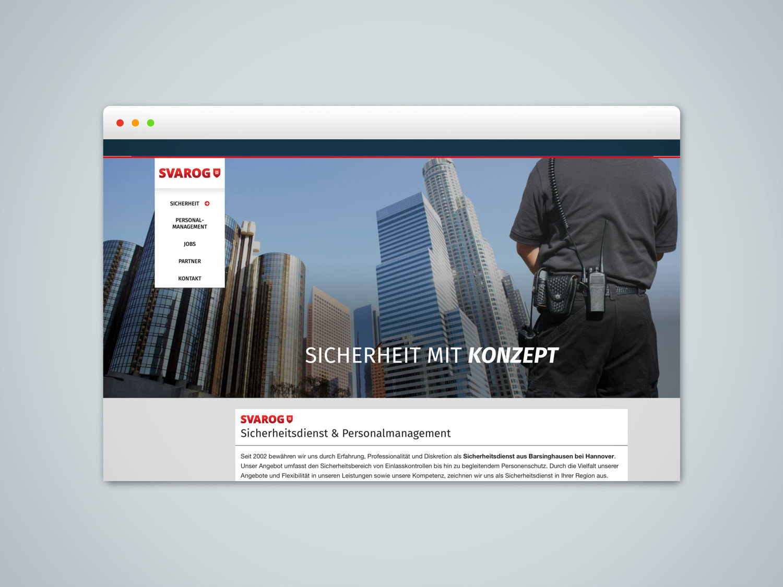 Umsetzung Webseite Svarog Sicherheit